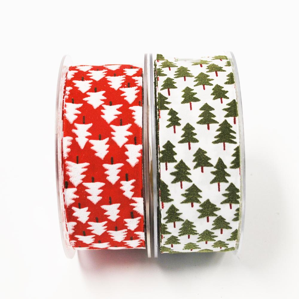 weihnachtsband tannenbaum rot und wei 40mm20m g nstig kaufen. Black Bedroom Furniture Sets. Home Design Ideas